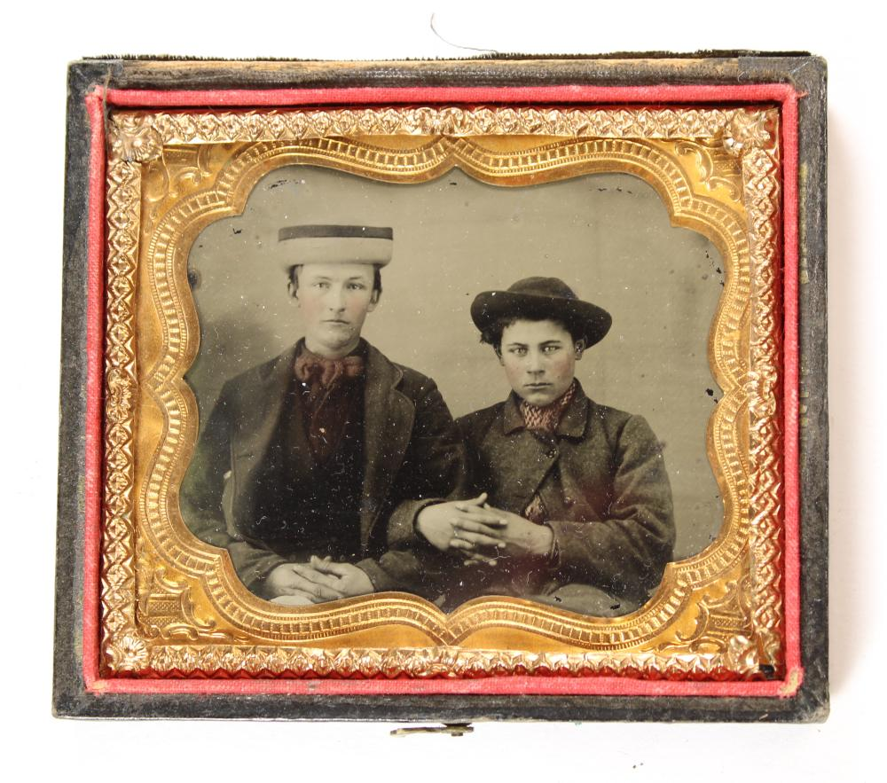 TWO YOUNG MEN IN INTERESTING HATS [TINTYPE]