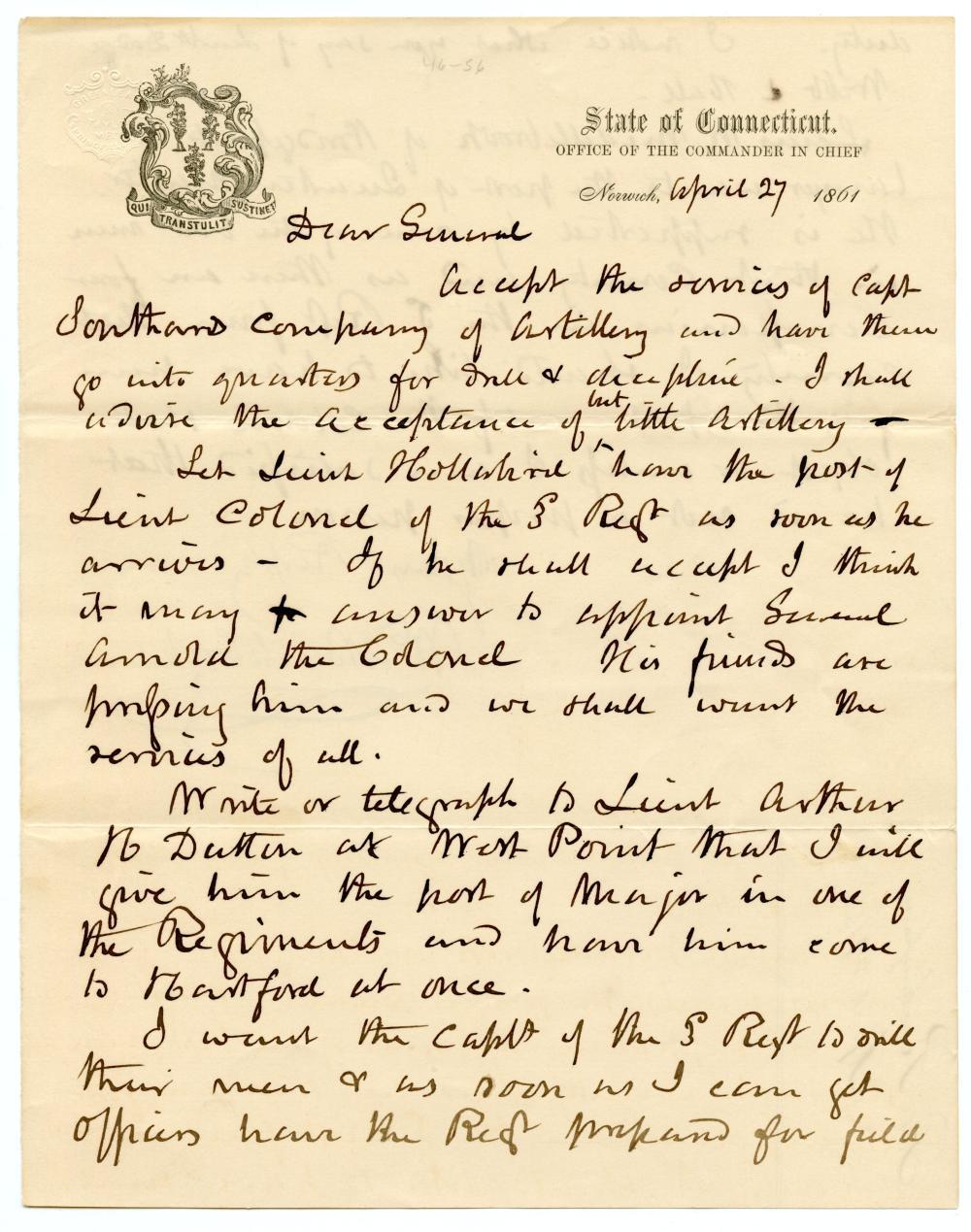 Civil War Gov. Of Connecticut Letter