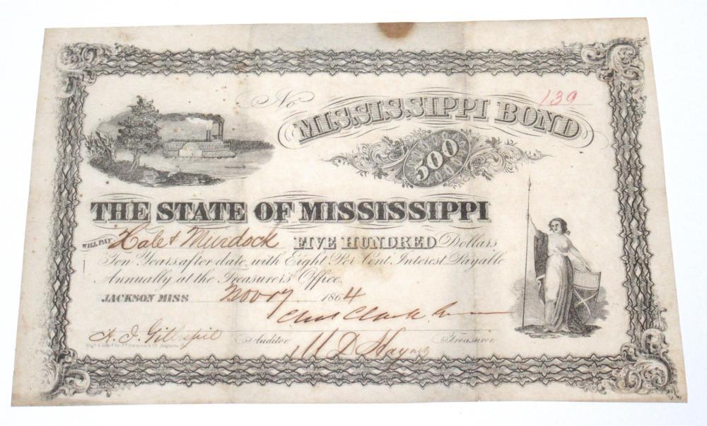 Civil War Confederate Mississippi Bond