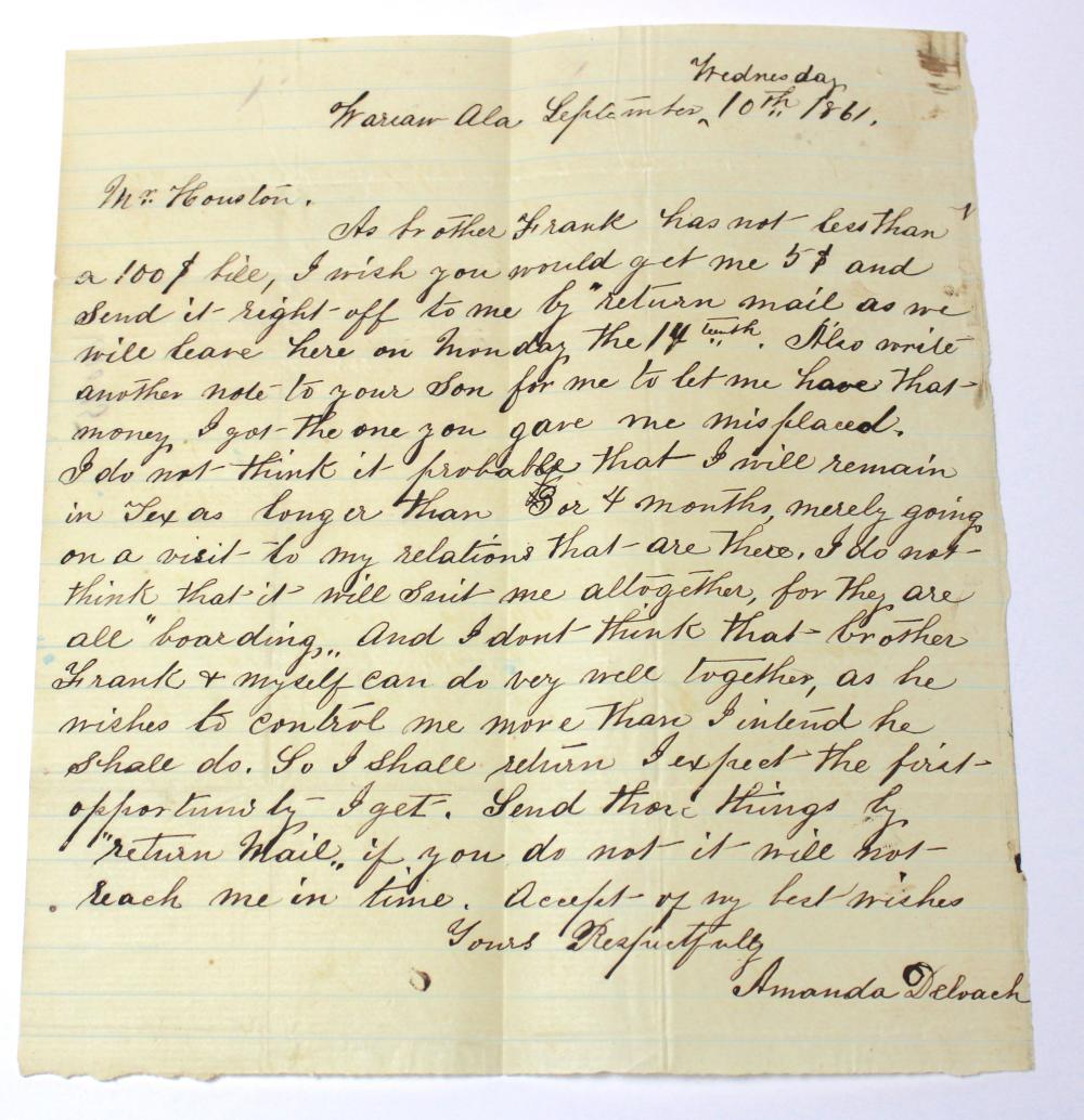 Civil War Confederate Homefront Letter- Alabama