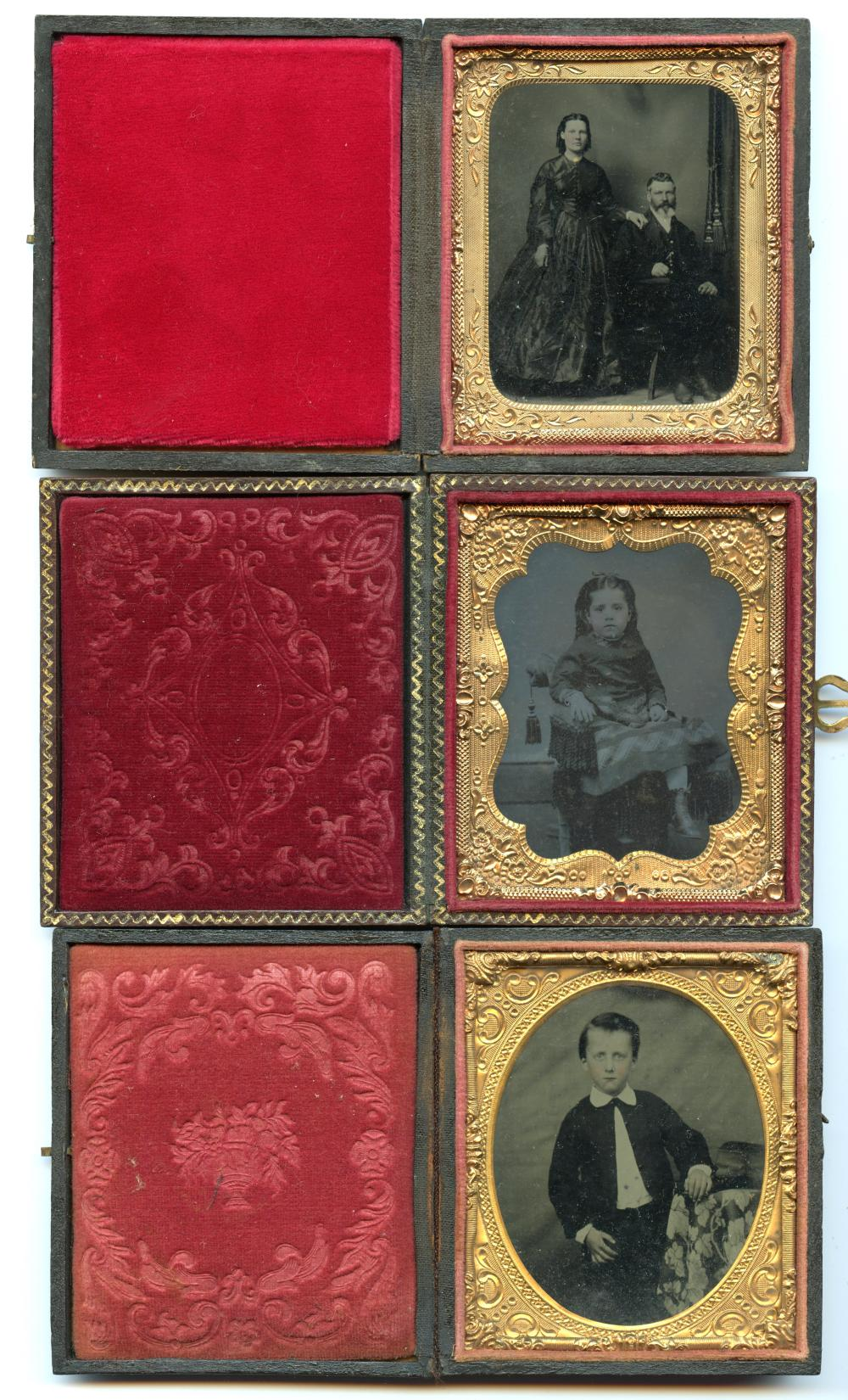 Three Sixth Plate Portraits- Couple and Two Children