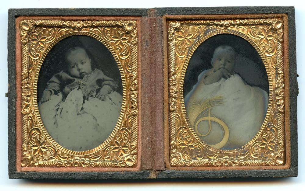 Ninth Plate Tintypes of Baby w/ Lock of Hair