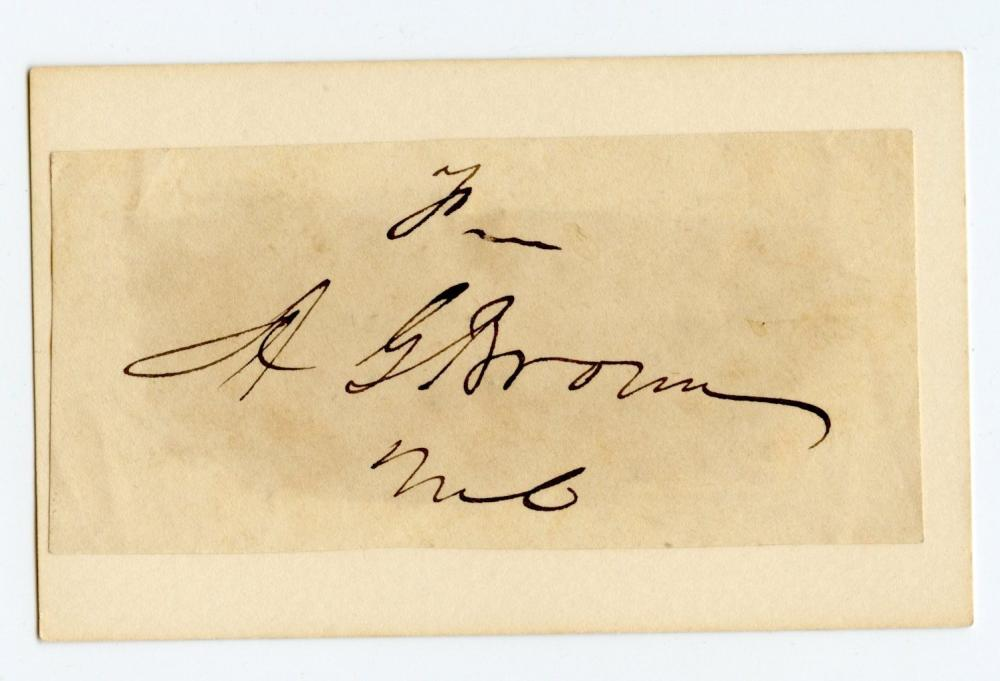 Civil War Confederate Albert G. Brown Signature