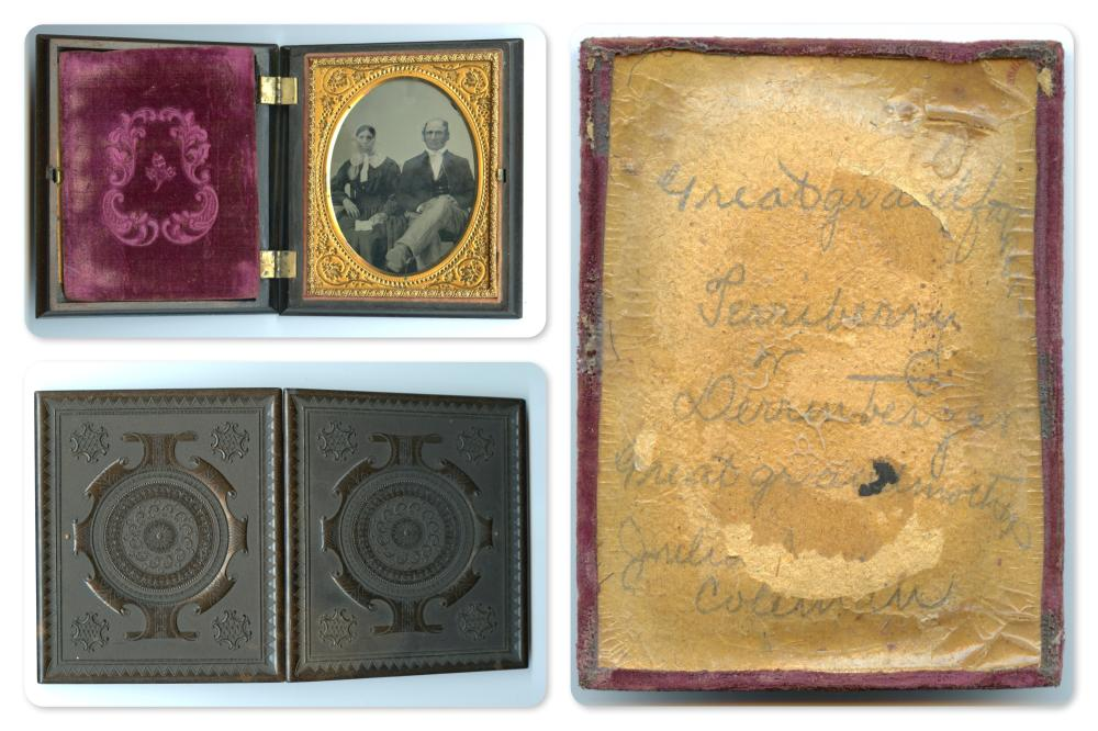 Identified Quarter Plate Ambrotype in Thermoplastic Case