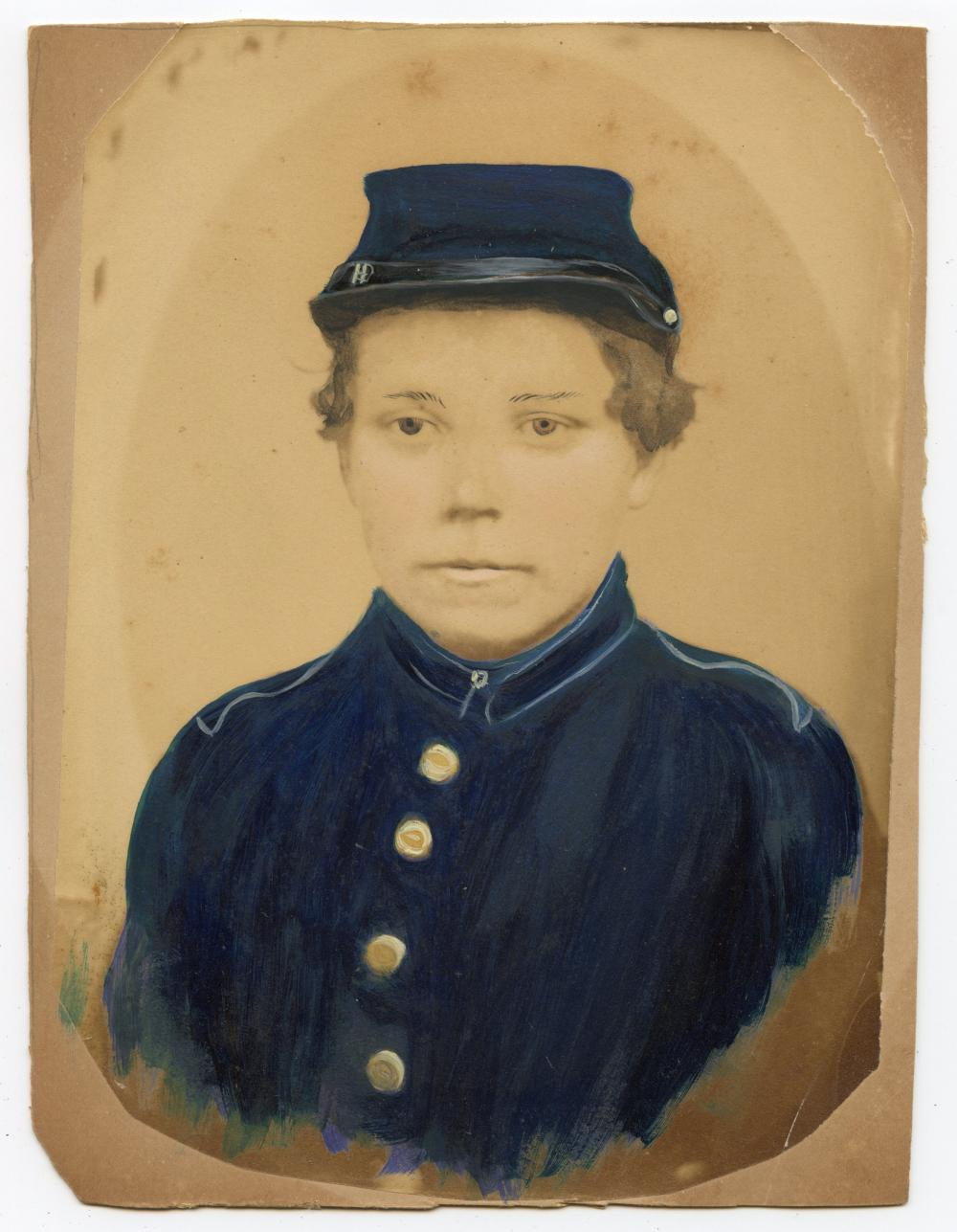 Civil War Hand-Colored Albumen Young Soldier