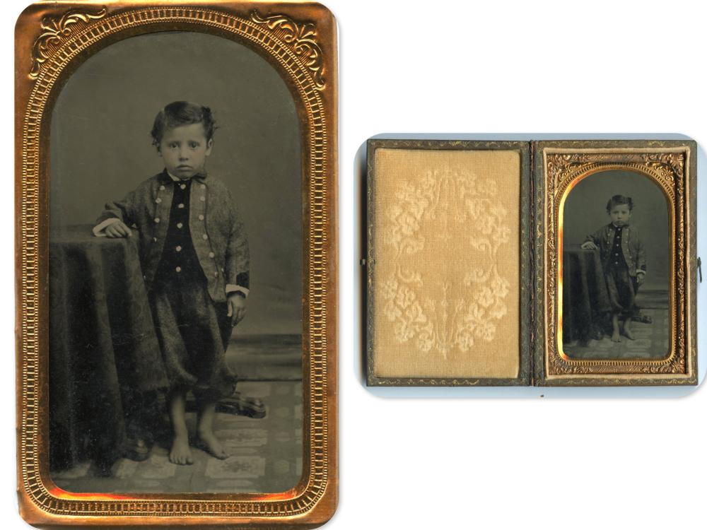 Sweet 1/8th Plate Tintype of Barefoot Boy