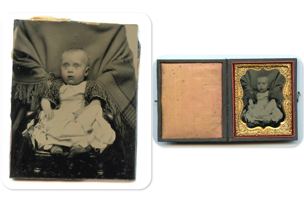 """""""Hidden Mother"""" Ninth Plate Ambrotype of Baby"""