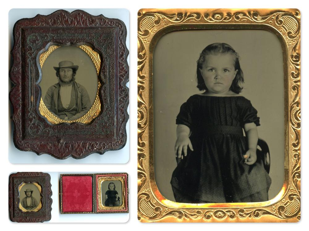 Two Tintype Portraits, Little Girl and Man in Wall Frame