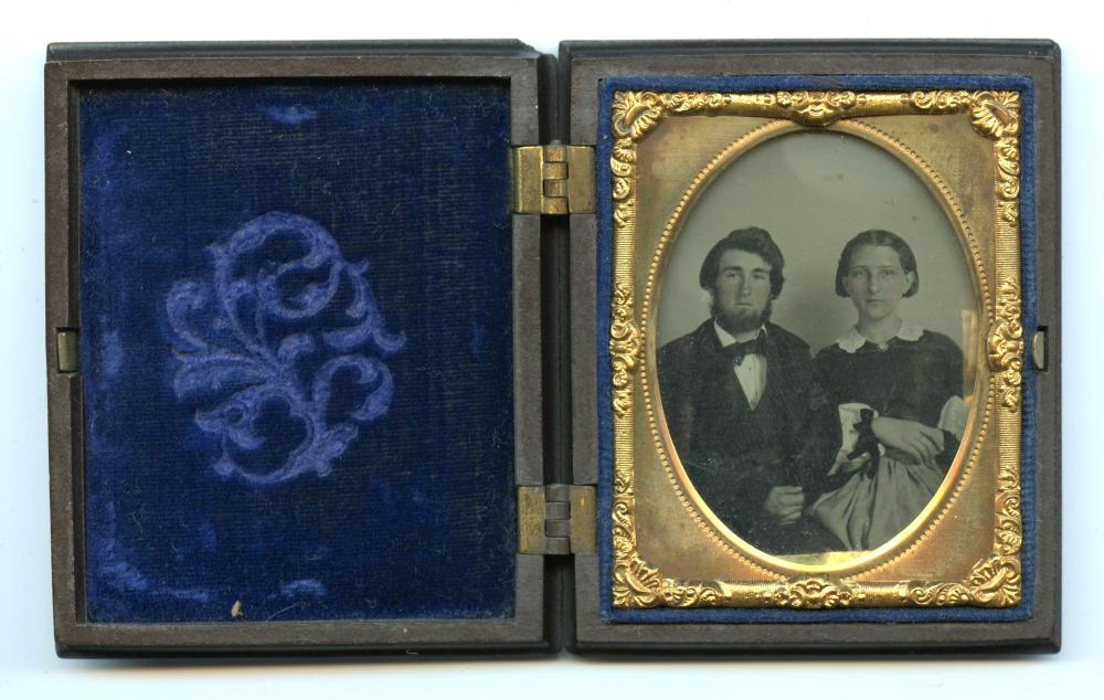 Ninth Plate Ambrotype of a Sweet Couple in Thermoplastic Case