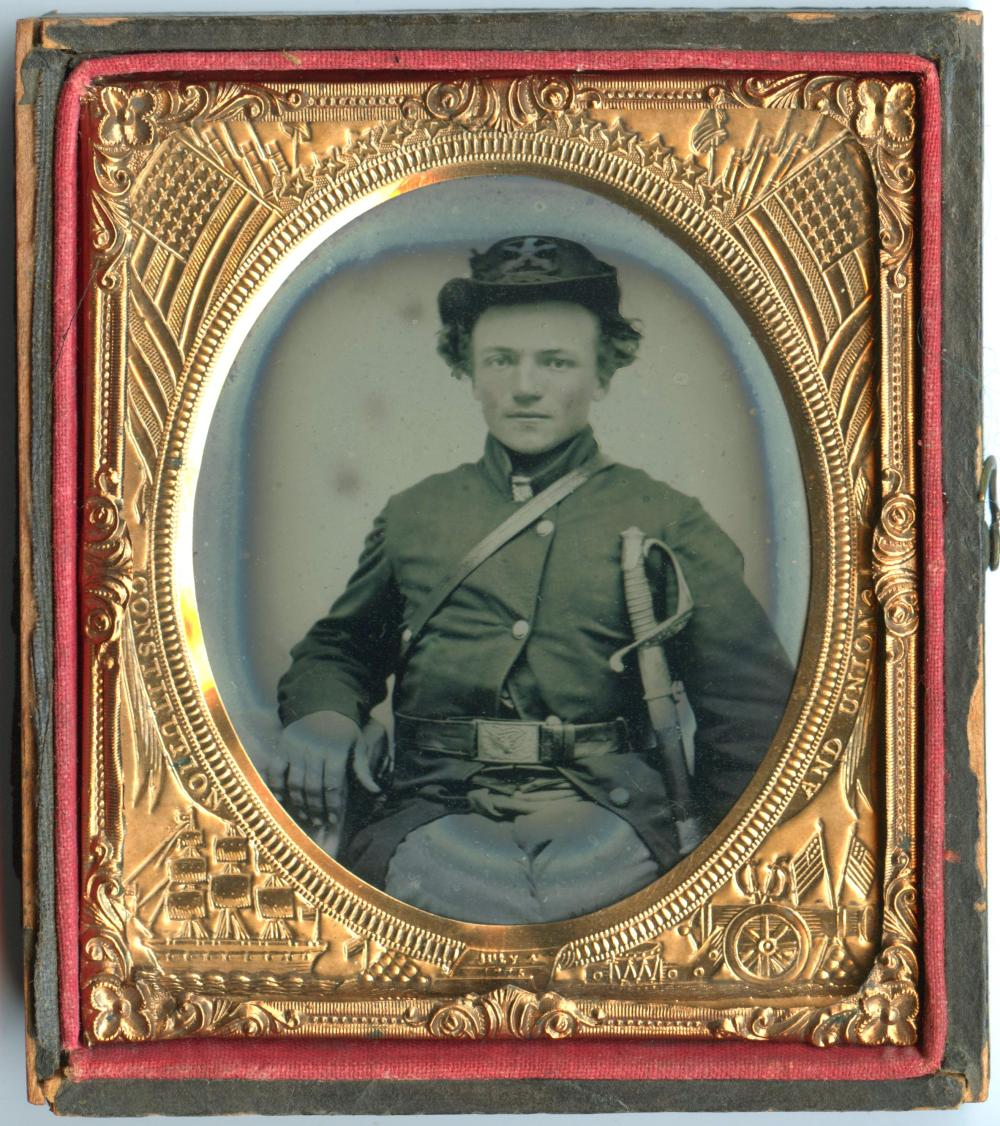 6th Plate Ambrotype of Young Cavalryman