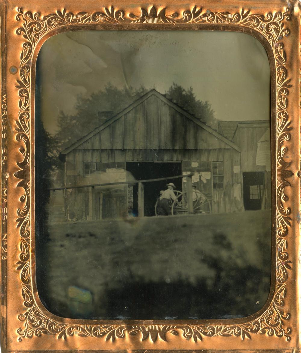 Sixth Plate Tintype of Farm w/ Broadsides