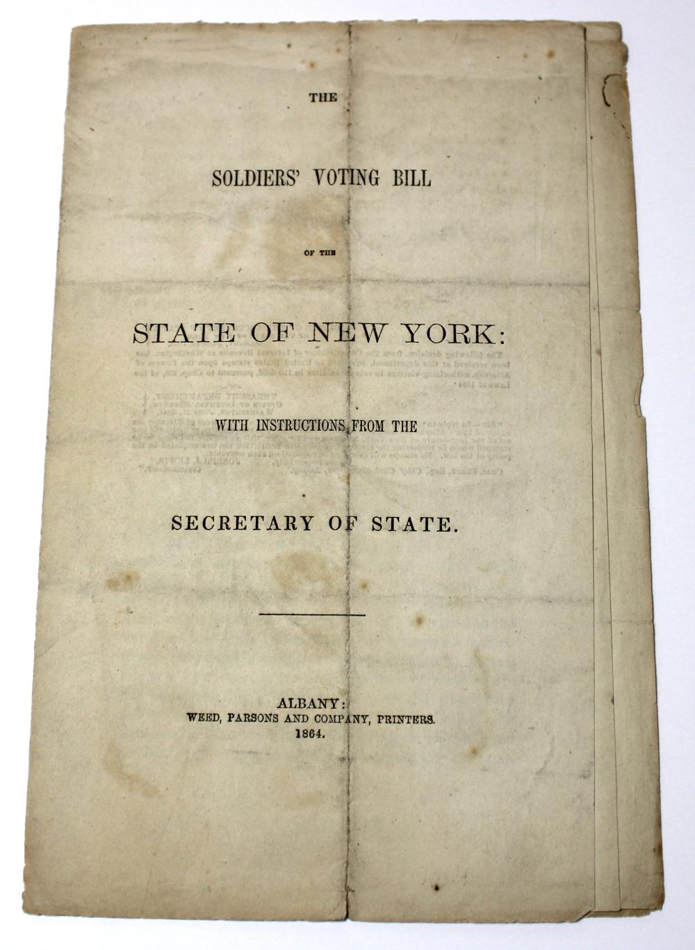 Civil War NY Soldier's Voting Bill