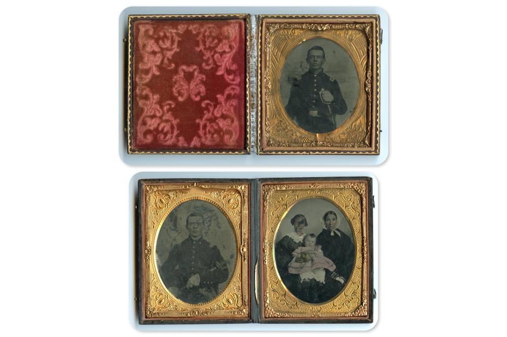 Three Stellar Tintypes- Two of Armed Civil War Soldier