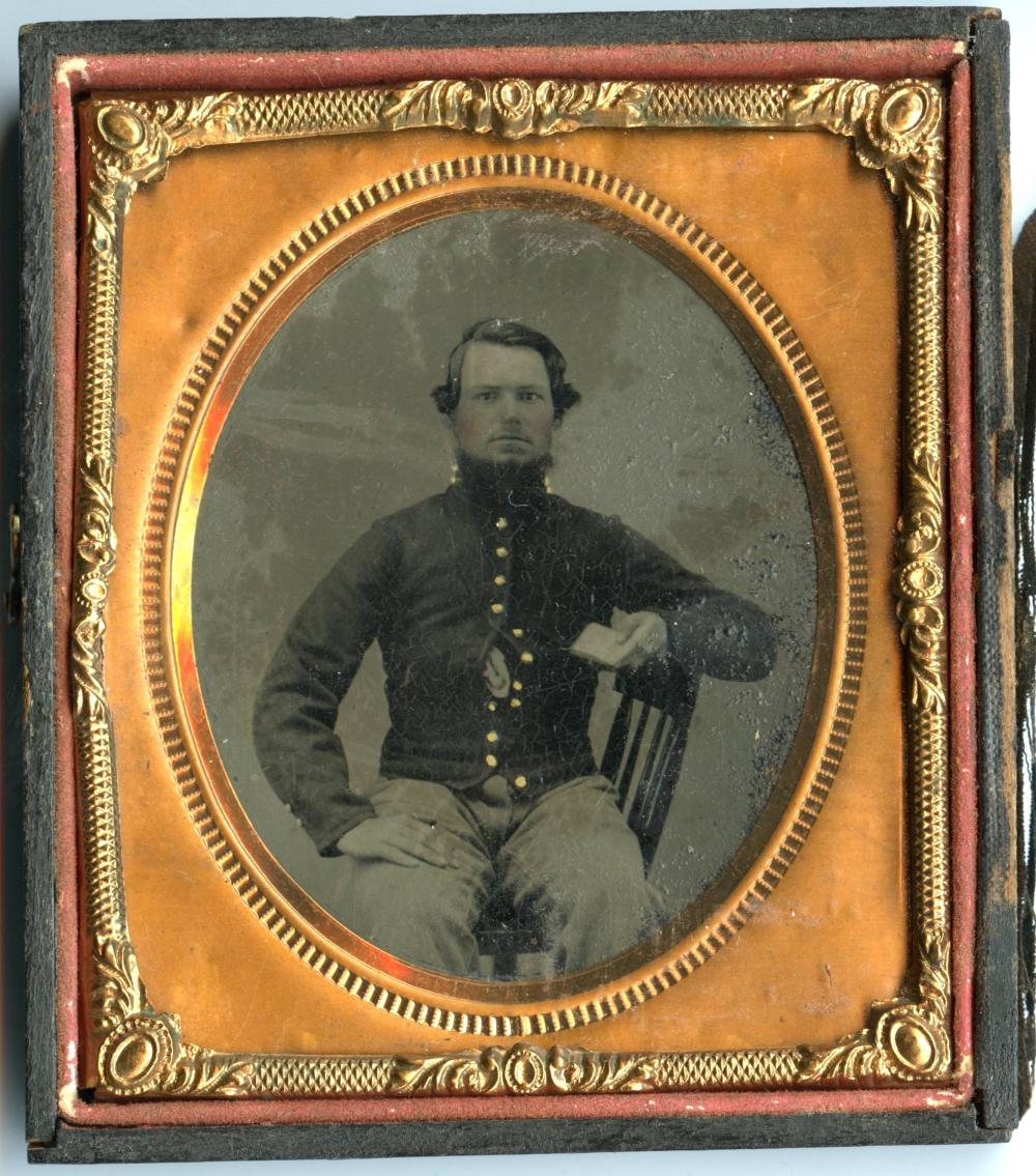 Civil War Soldier Tintype Holding Book