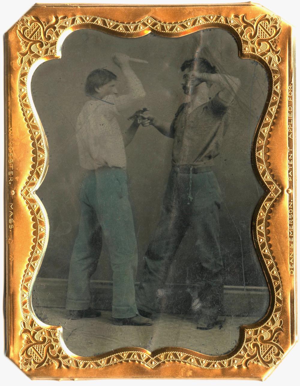 1/4 Civil War Tintype Plate Fighting Soldiers