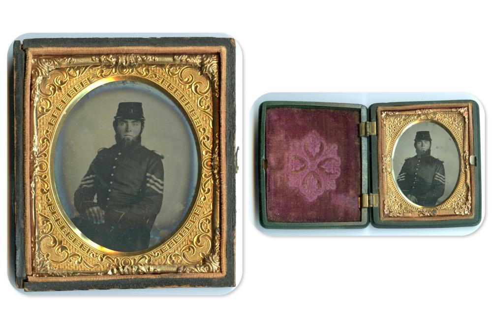 Two Civil War Tintypes of Same Soldier