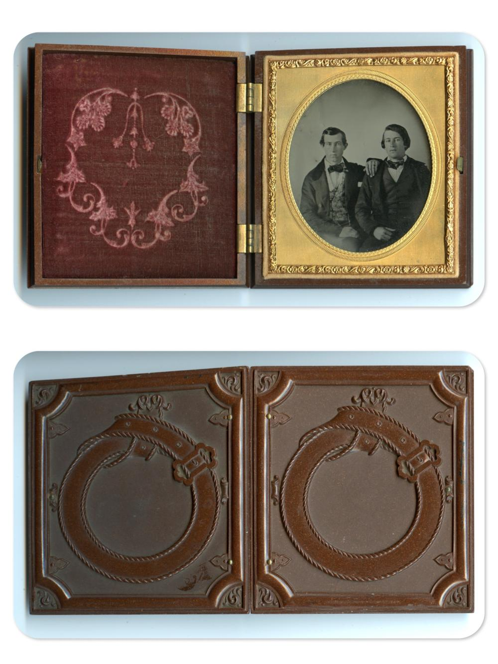 """Sixth Plate Ambrotype of Two Men in Desirable """"Belt and Buckle"""" Case"""