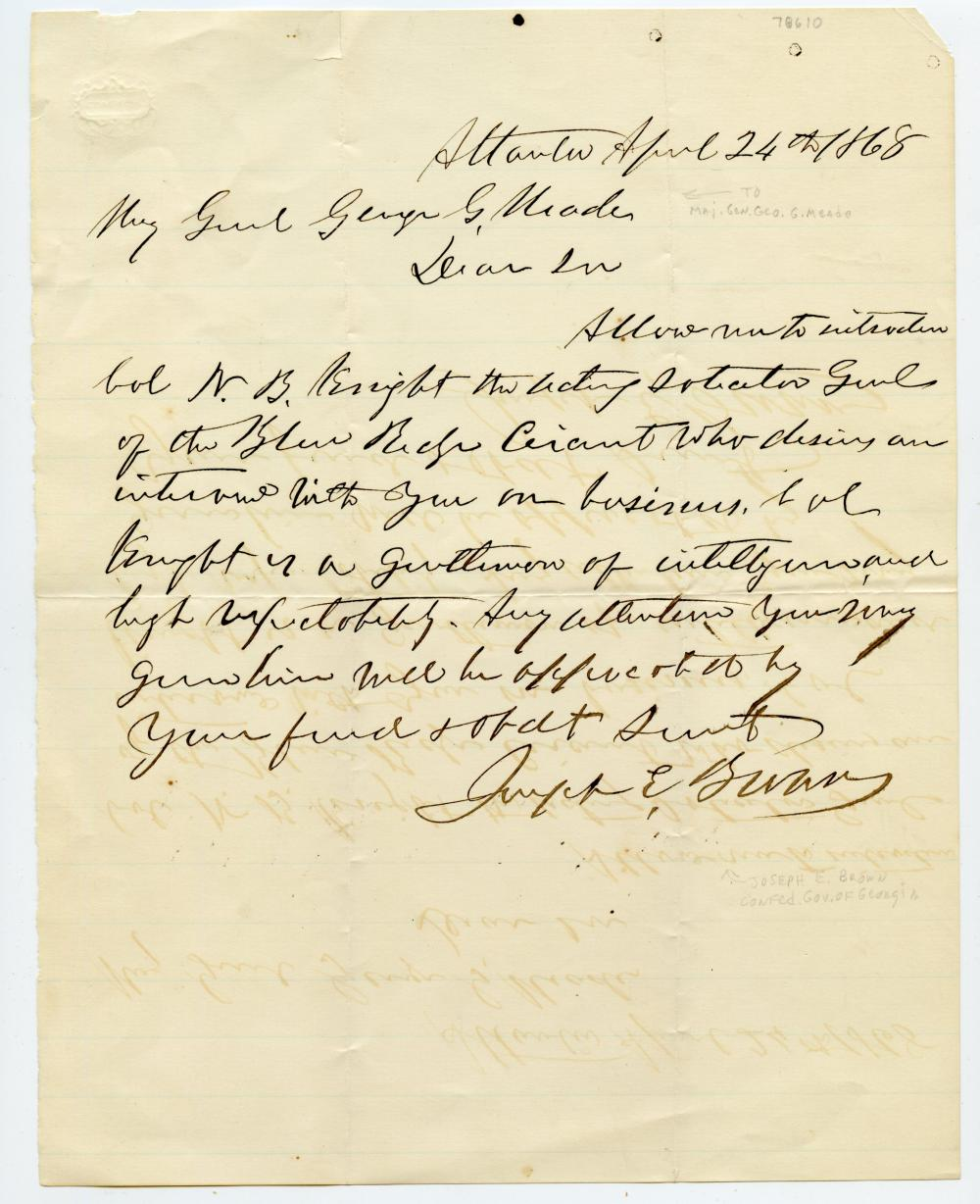 Civil War Letter to Gen. Meade from Confederate
