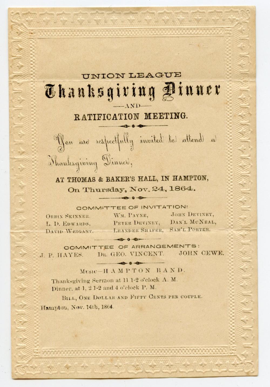 Civil War 1864 Thanksgiving Invitation