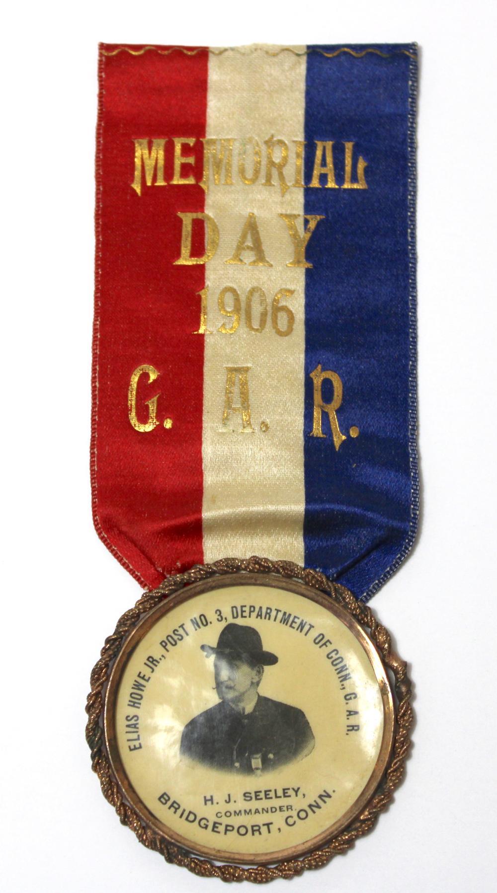 Civil War GAR Connecticut Ribbon Badge