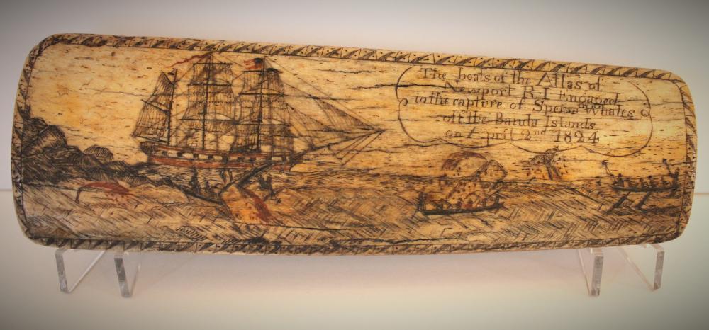Fine Active Whaling Scene American Scrimshaw-1824