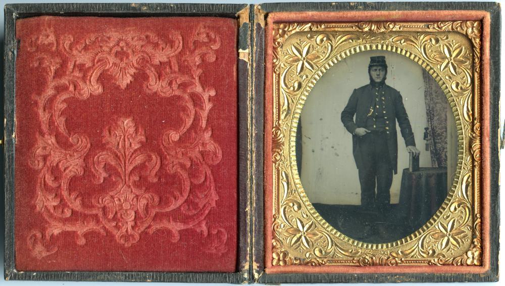 Standing Civil War Soldier Tintype- Patriotic Case