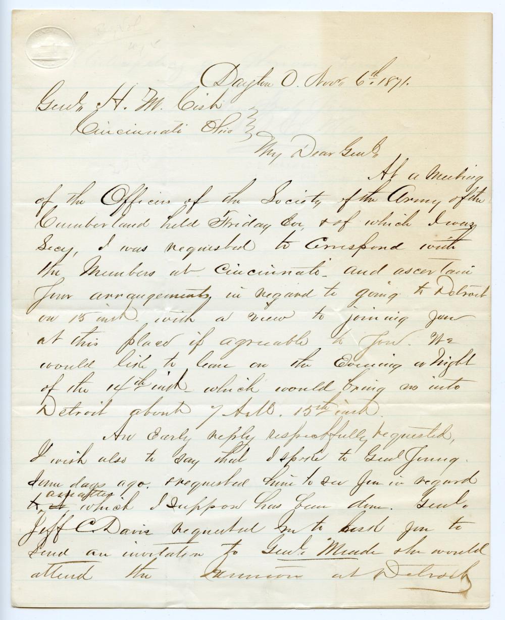 Post-Civil War Letter Between Famous Generals