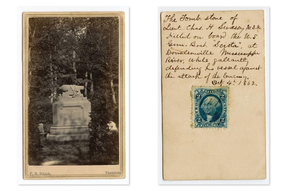 CDV of KIA Naval Hero's Grave- Great Inscription