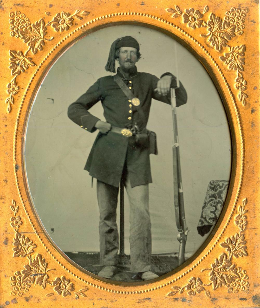 6th Plate Tintype Armed Civil War Soldier- Fez Hat