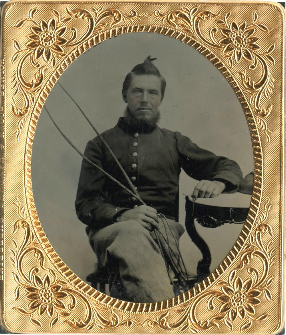 Civil War Tintype Teamster Holding Whip