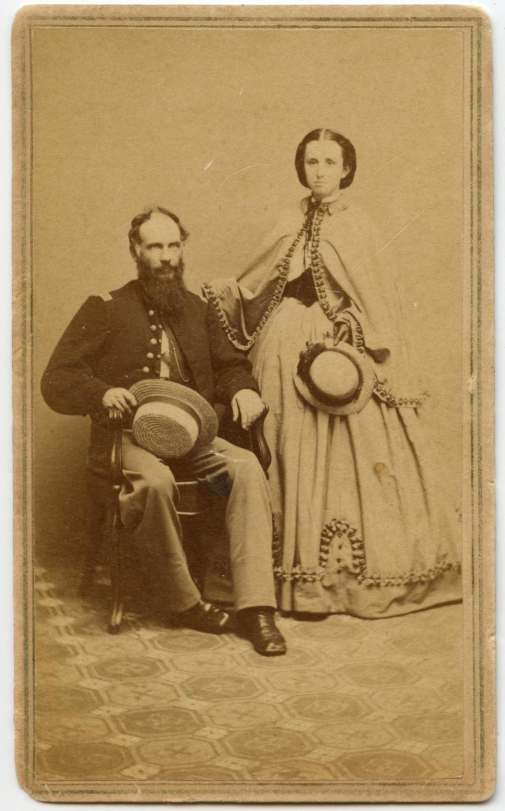 Civil War CDV Officer and Wife, Straw Hats