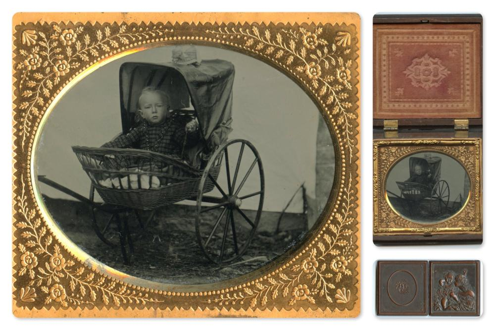 Sixth Plate Tintype of Child in Stroller