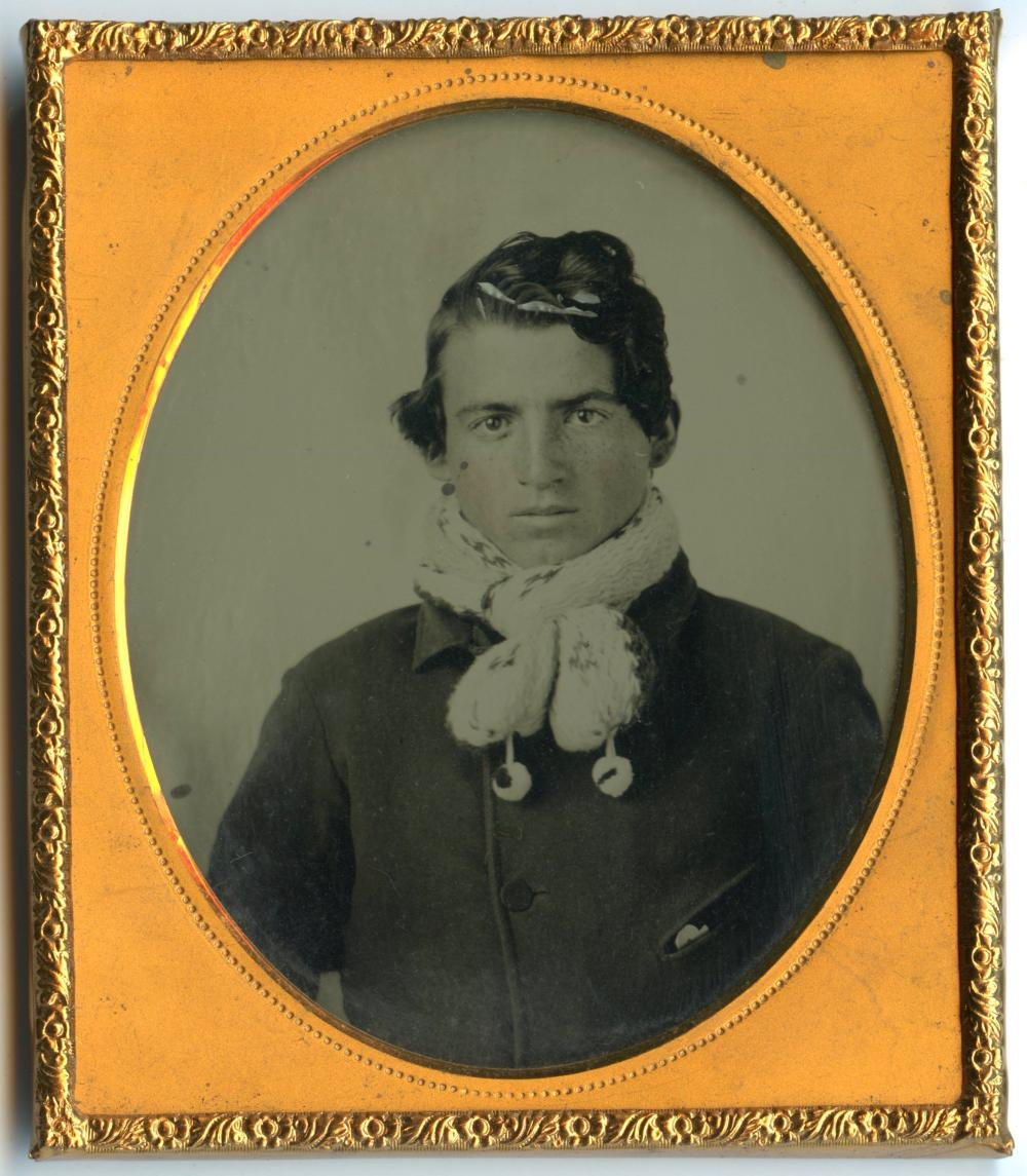 Ambrotype of Fancy Man in Interesting Scarf