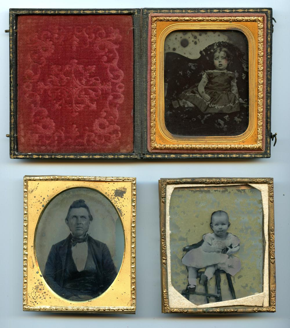 Three Sixth Plate Ambrotypes, Named Buffalo, NY Photographer
