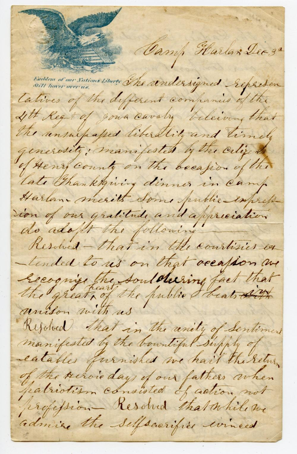 Wonderful Civil War Thanksgiving Letter- 4th Iowa Cavalry