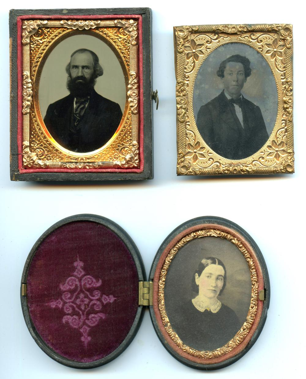 Three Ninth Plate Images, One Oval Thermoplastic Case