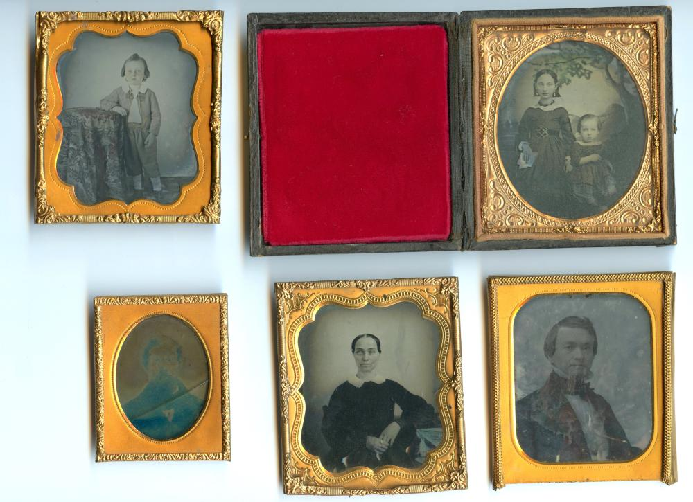 Five Ambrotypes- One w/ Painted Backdrop