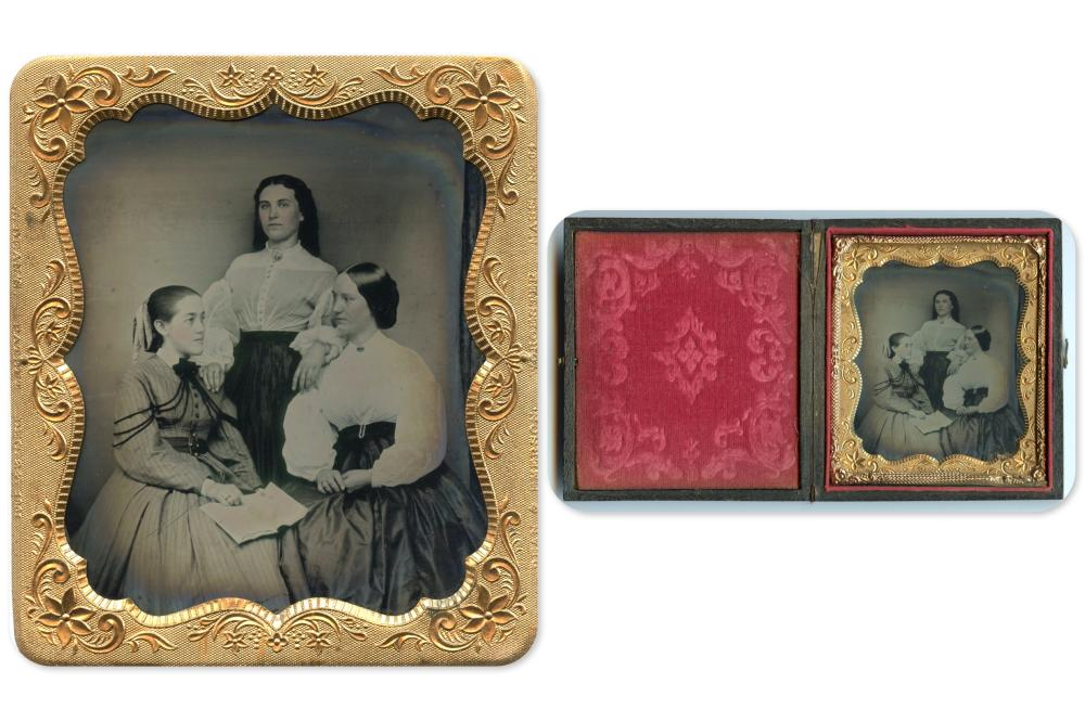 Sixth Plate Tintype of Three Women- Interesting Composition and Content