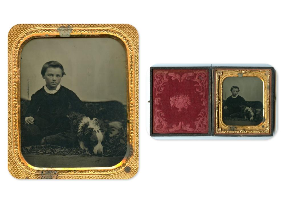 Charming Sixth Plate Ambrotype of Boy w/ His Dog