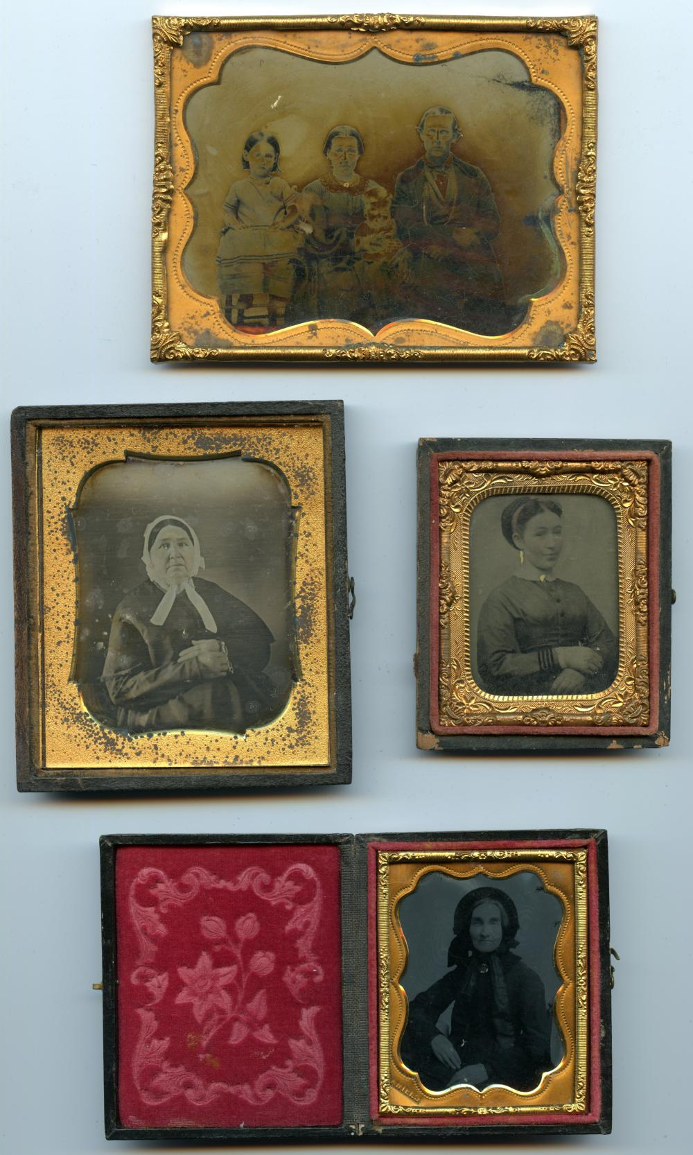 Group of Four Tintype/Ambrotype/Daguerreotype Portraits, One Named Artist