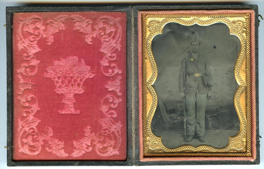 1/4 Plate Tintype Civil War Interesting Hat and Backdrop
