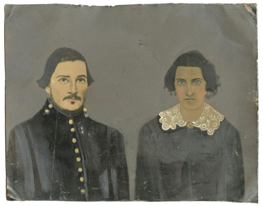 Large Painted Tintype of Civil War Soldier + Wife
