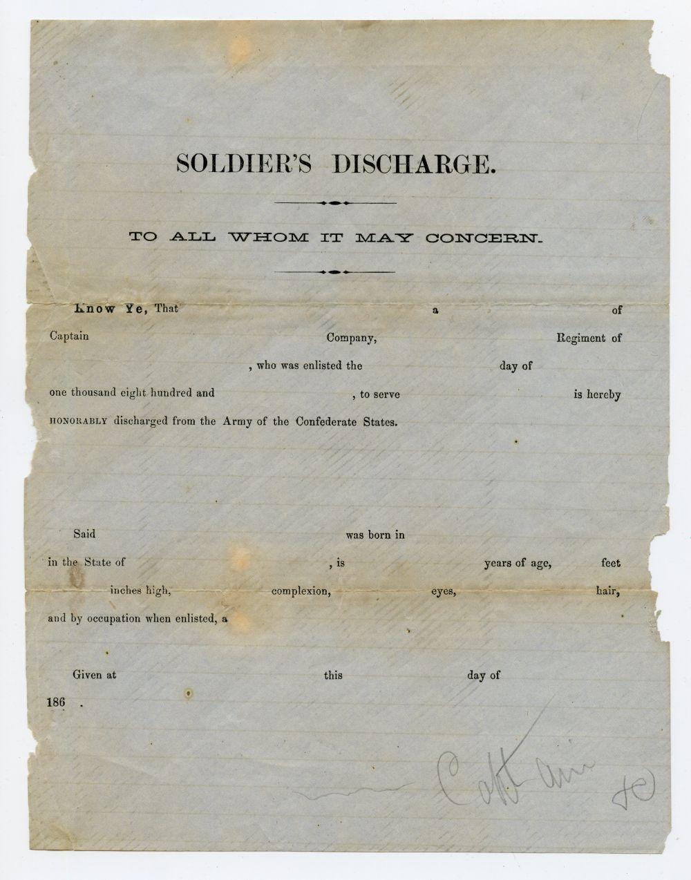 Civil War Confederate Discharge Document