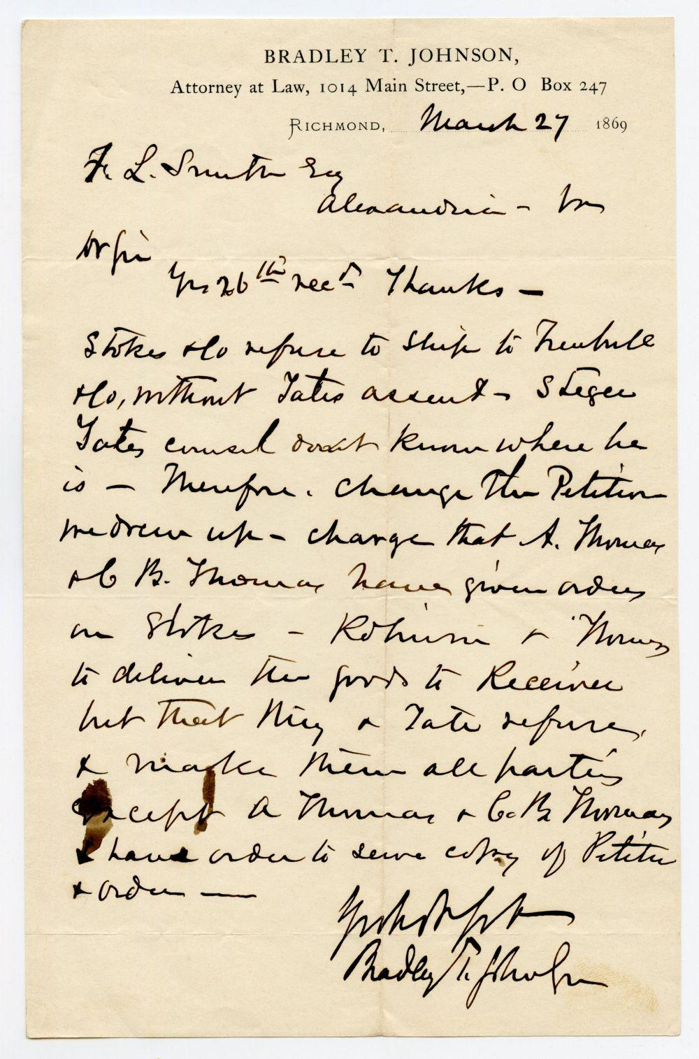 Post-Civil War Confederate General Letter