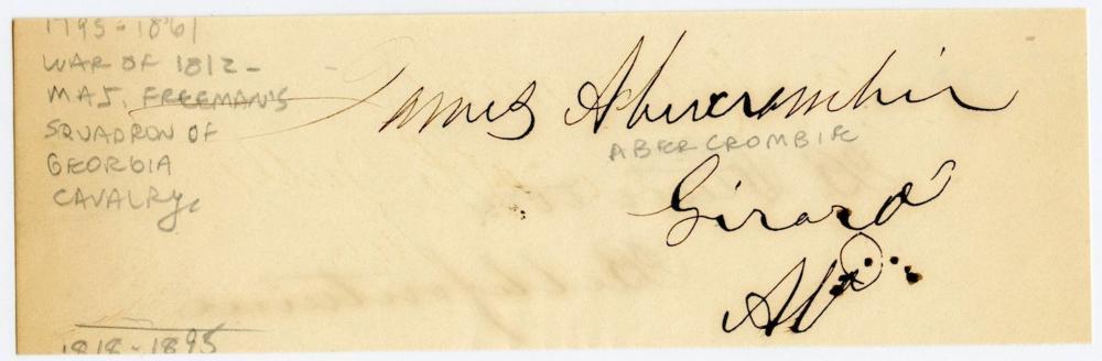 James Abercrombie Signature- 1812 Veteran, Politician