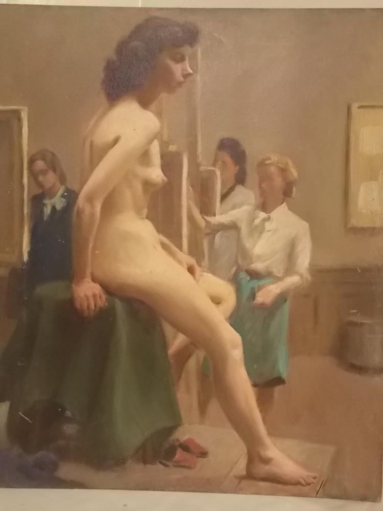 CLINTON BROWN OIL PAINTING OF NUDE MODEL