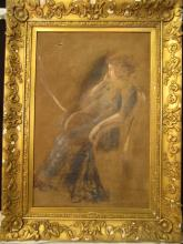 IMPRESSIONISTIC PAINTING BOSTON SCHOOL OF A WOMAN