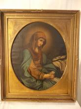 ANTIQUE OIL PAINTING OF THE MADONNA
