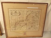 C. 1700 WELLS PLANTATIONS MAP OF NEW ENGLAND