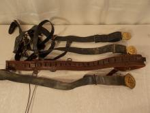 4 OLD LEATHER CARTRIDGE BELTS